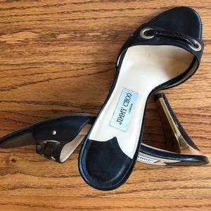 Jimmy Choo EUC blk pumps w/gold & snakeskin heels